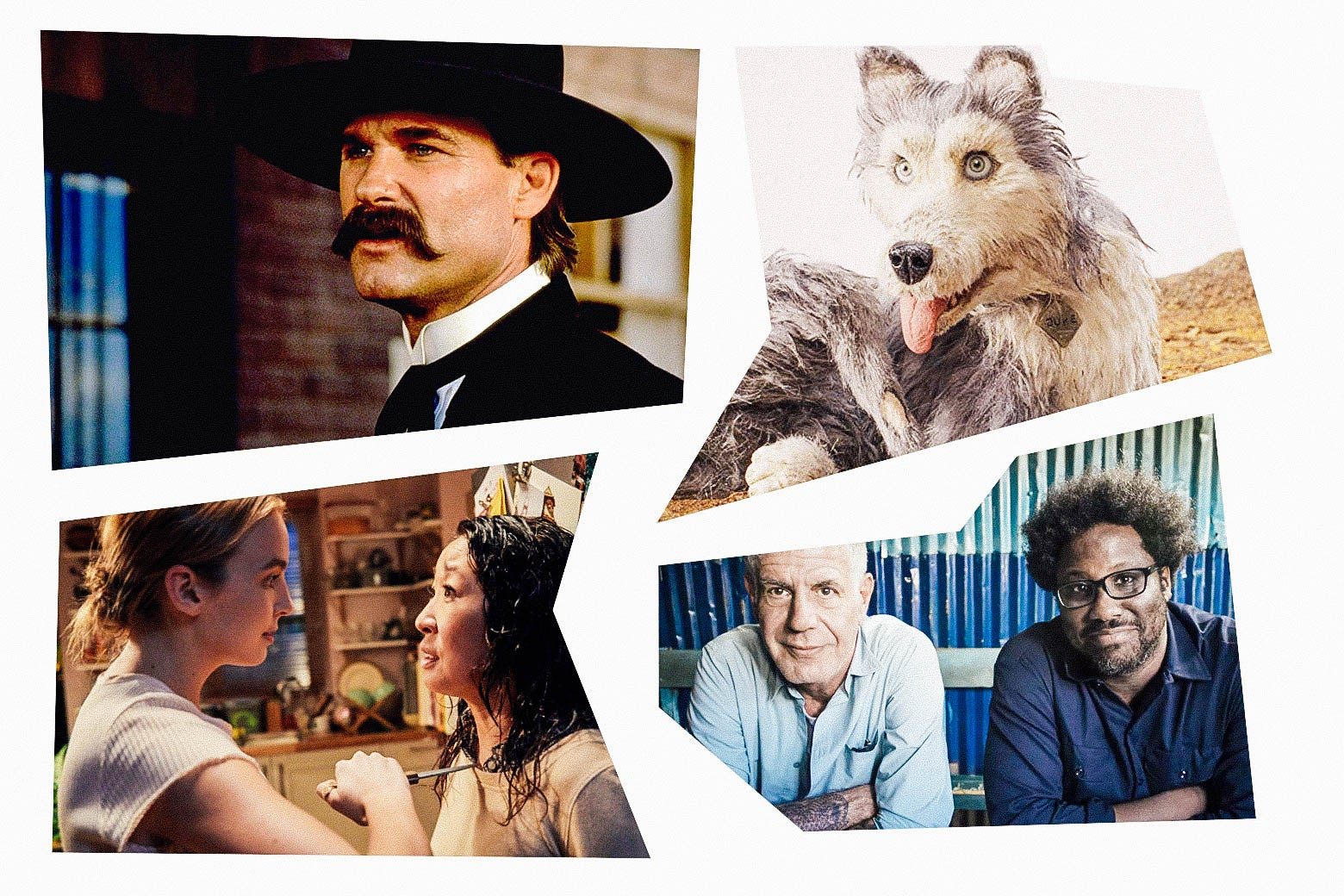 A collage in a mosaic style features stills of Kurt Russell in Tombstone; a claymation dog, Sandra Oh in Killing Eve, and Anthony Bourdain sitting next to W. Kamau Bell.
