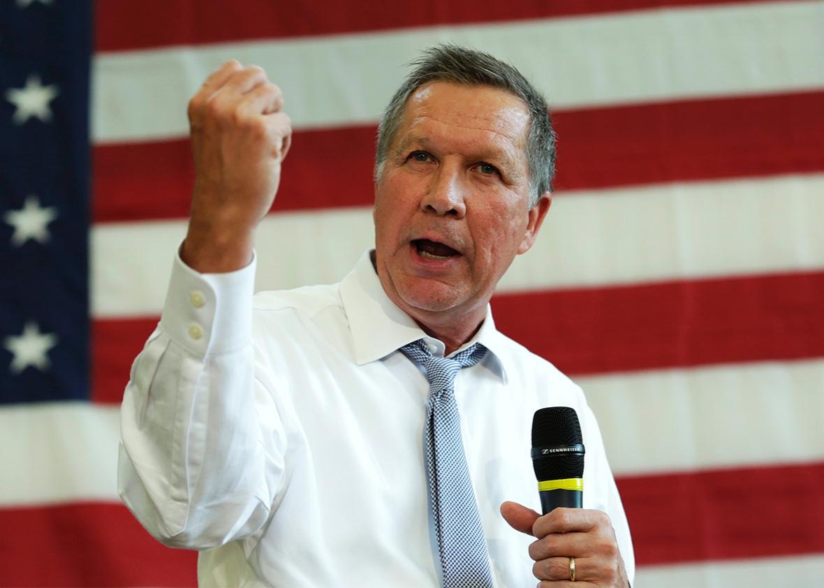 Republican presidential candidate John Kasich speaks during a town hall meeting in Rockville, Maryland on April 25, 2016.