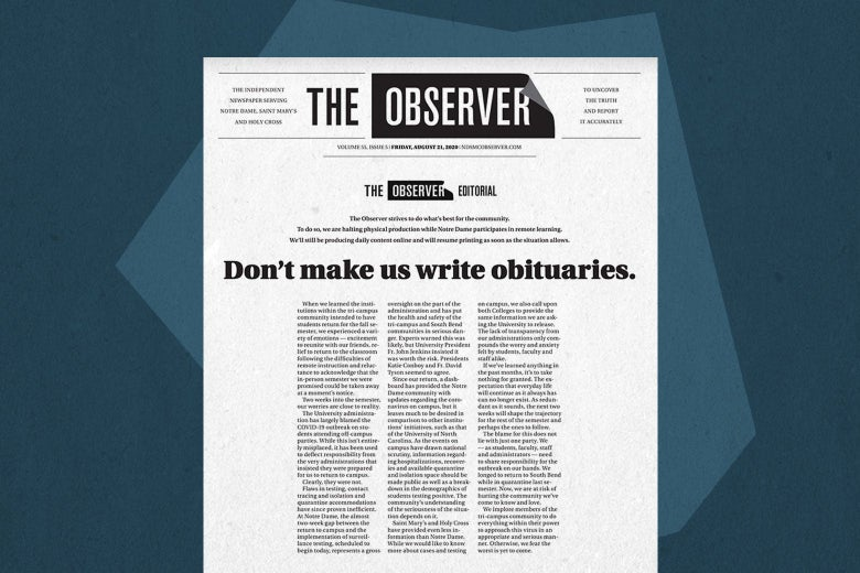 Print Edition of The Observer front page for Friday, August 21, 2020