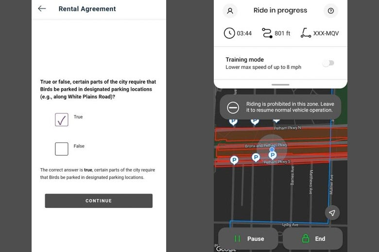 """A screenshot of a page in the app asking a true or false question about where Bird scooters can be parked and another screenshot pointing out that """"riding is prohibited in this zone."""""""