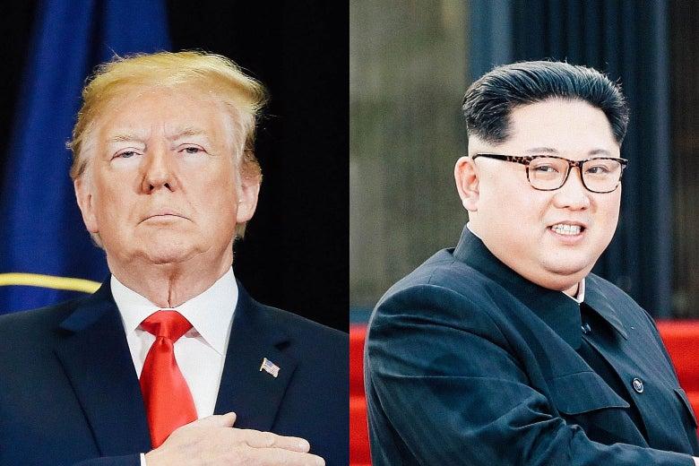 Composite image of Donald Trump and Kim Jong-un.