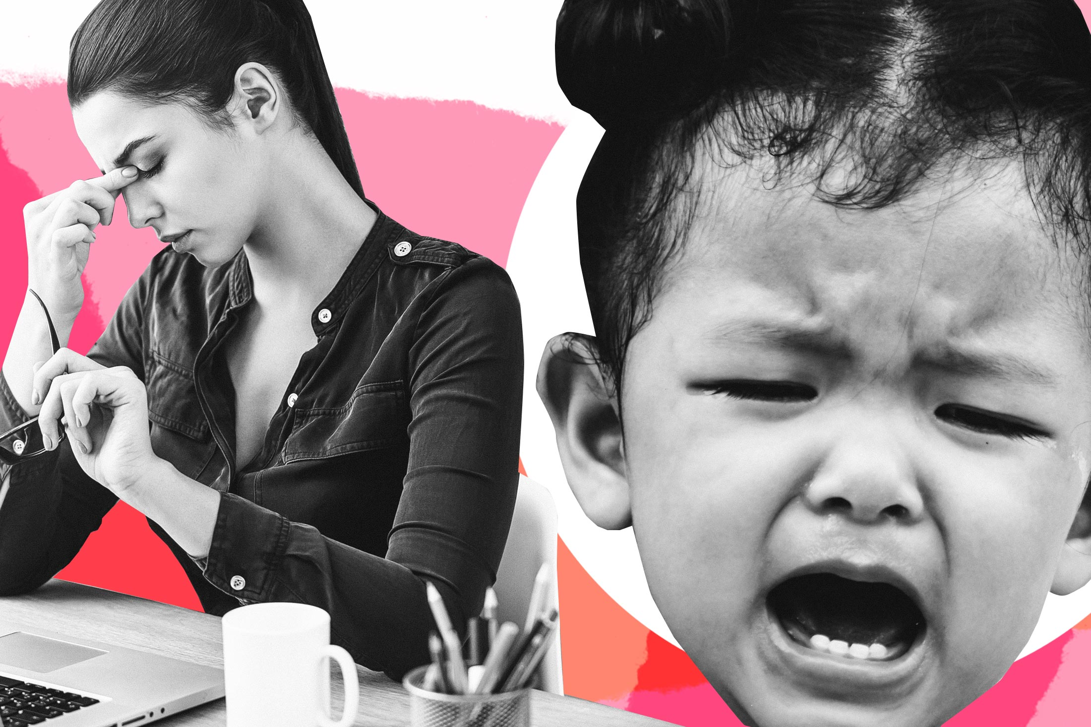 Exasperated woman working at desk, giant crying two year old.