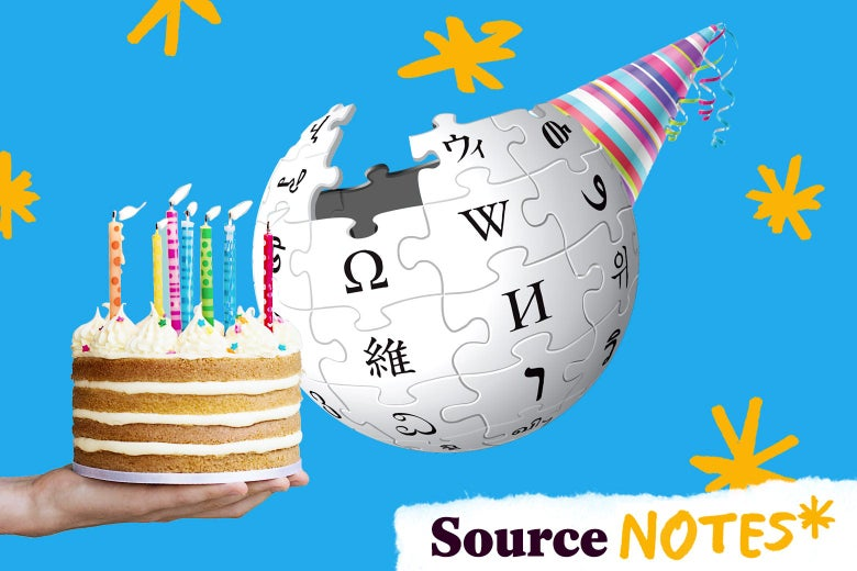 A Wikipedia globe with a birthday party hat and someone holding a birthday cake.