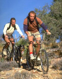 Two people biking in Colorado.