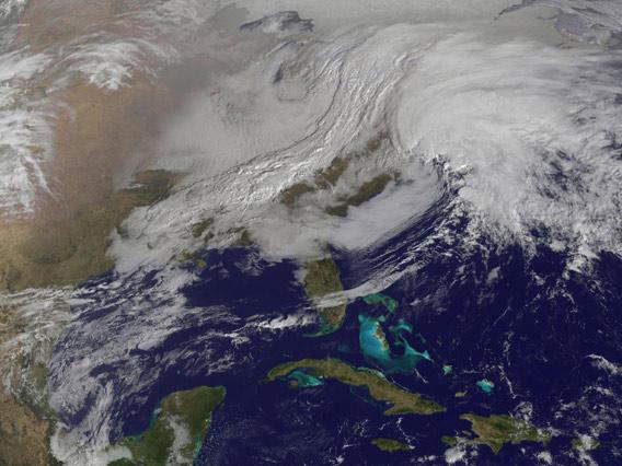 GOES 13 image of a nor'easter