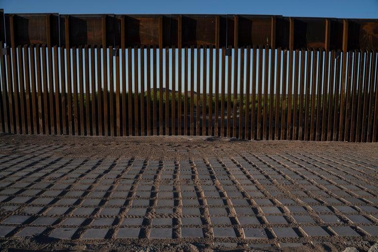 "A recently installed ""big beautiful"" wall near Santa Teresa, New Mexico."