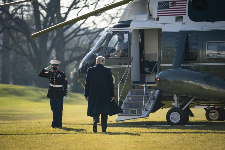 President Donald Trump walks to Marine One on the South Lawn of the White House on January 12, 2021 in Washington, D.C.