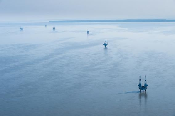 Migrating birds pass oil platforms that have been established along Gompertz Channel and Cook Inlet, Alaska.