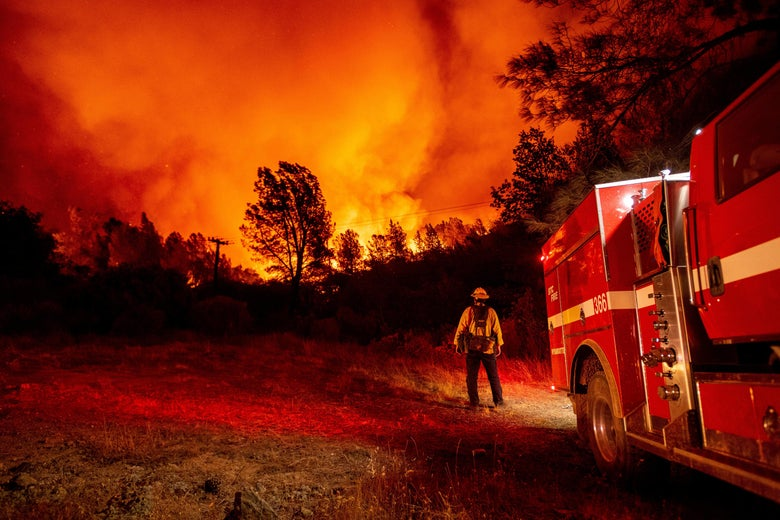 Firefighters by a firetruck watch not-too-distant flames burn trees.