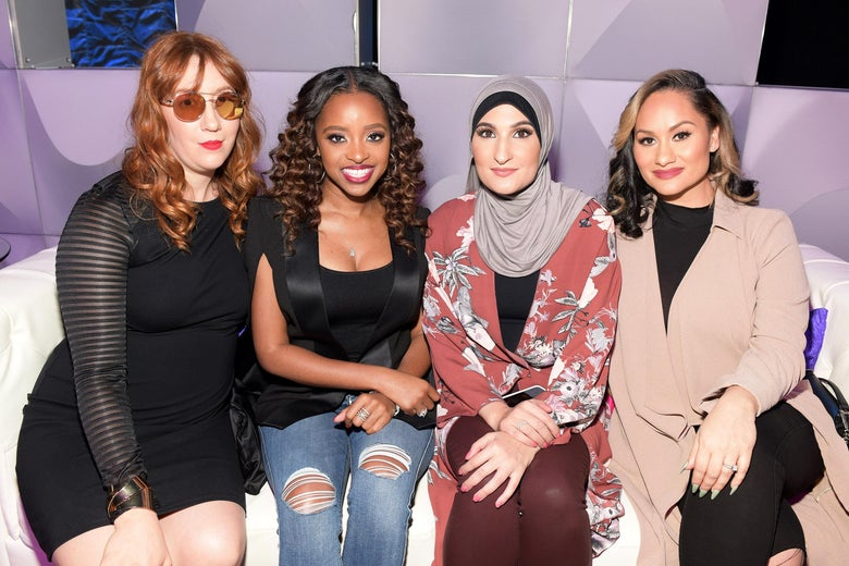 ATLANTA, GA - FEBRUARY 11: (L-R) Bob Bland, Tamika D. Mallory, Linda Sarsour and Carmen Perez attends BET's Social Awards 2018 at Tyler Perry Studio on February 11, 2018 in Atlanta, Georgia.  (Photo by Marcus Ingram/Getty Images for BET)