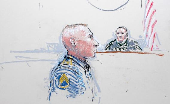 Army Staff Sergeant Robert Bales (L) and Judge Col. Jeffery R. Nance is seen in a courtroom sketch as he is arraigned on 16 counts of premeditated murder, six counts of attempted murder and seven of assault at Joint Base Lewis-McChord, Washington January 17, 2013.