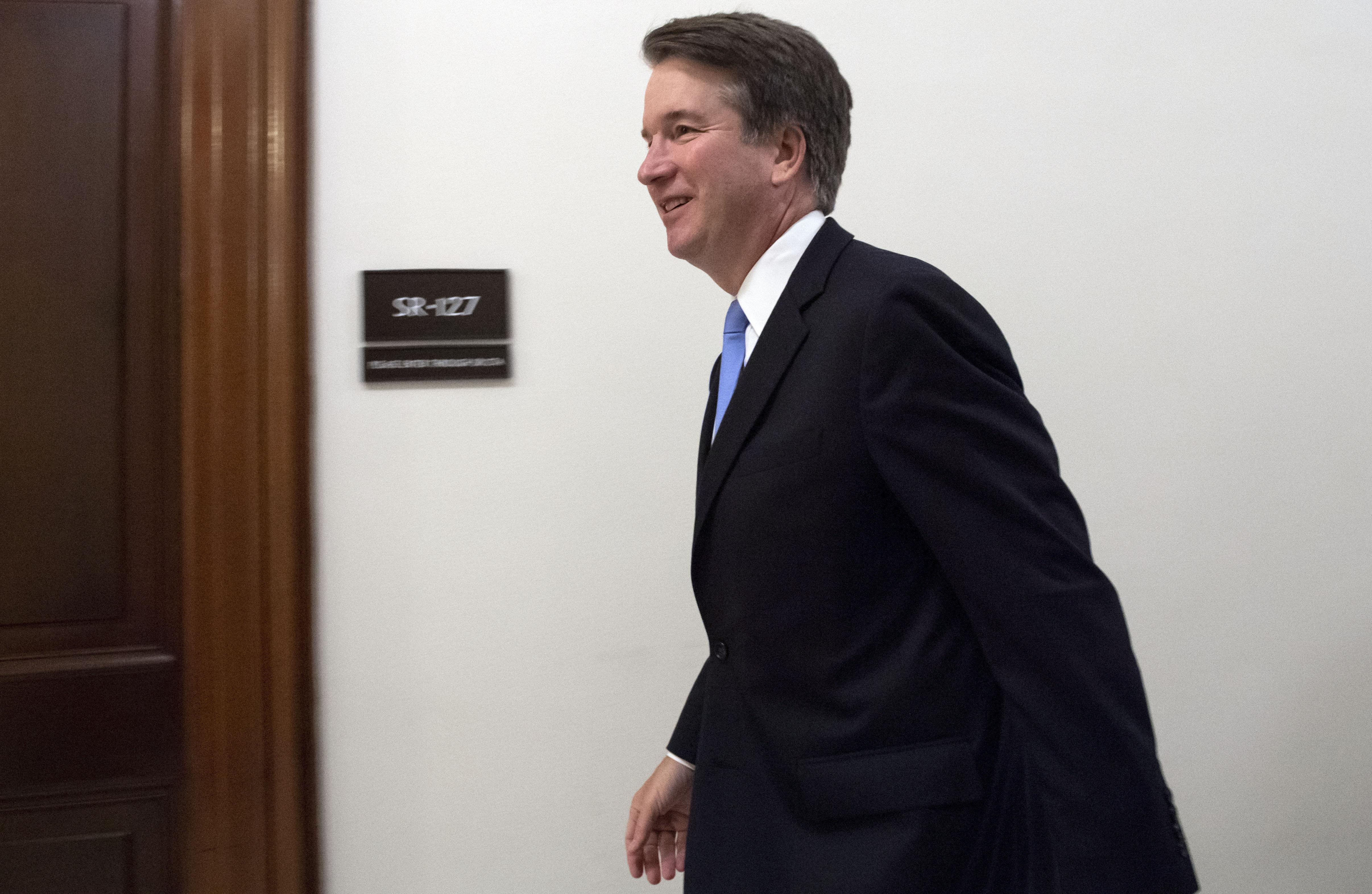 Supreme Court associate justice nominee Brett Kavanaugh arrives for a meeting with Senator Chris Coons, Democrat of Delaware, on Capitol Hill in Washington, D.C. on August 23, 2018.