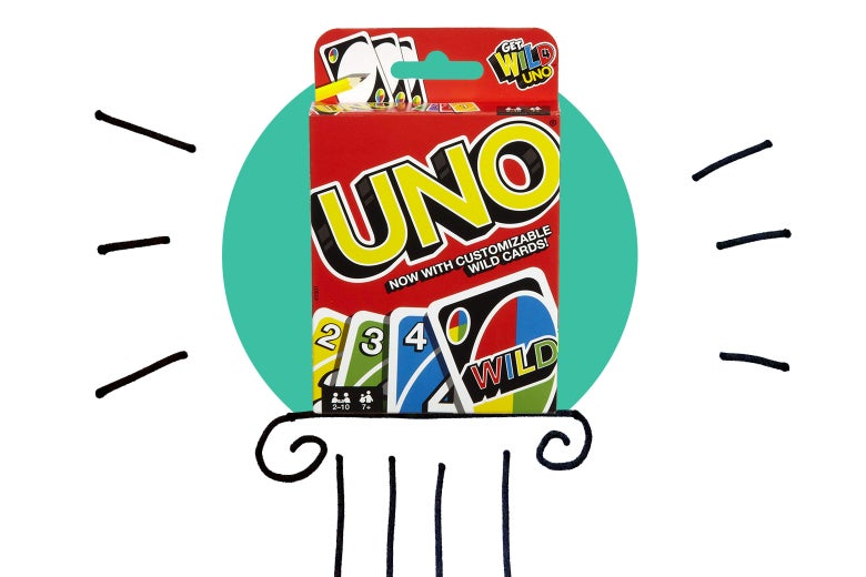 The game Uno on a pedestal.