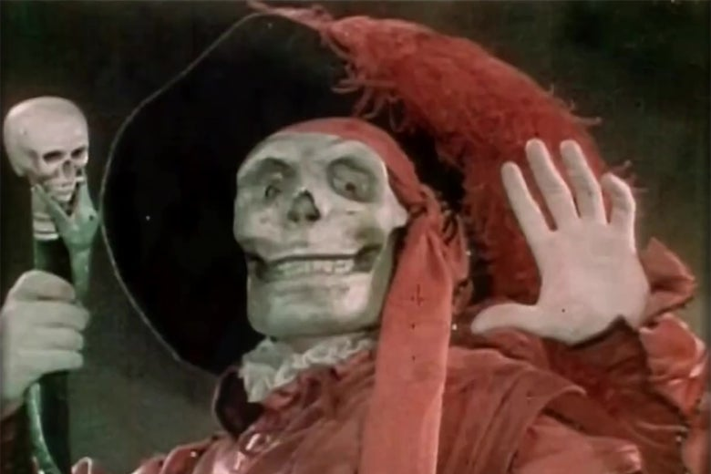 Lon Chaney dressed as the Red Death in a still from the Technicolor sequence of Phantom of the Opera.