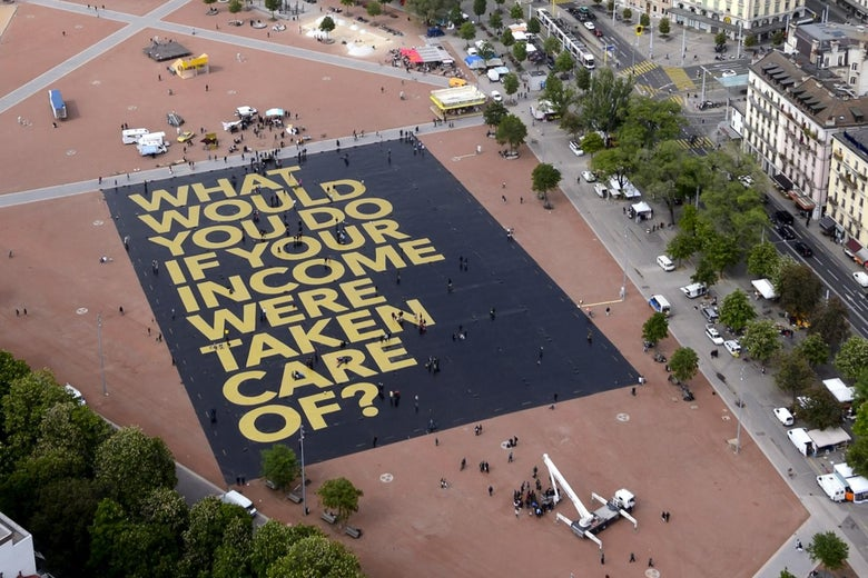 Switzerland set a Guinness Record for the world's largest poster on May, seeking to rally support for the controversial idea ahead of a referendum next month.
