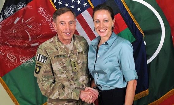 CIA Director Gen. David Petraeus, left, shakes hands with biographer Paula Broadwell.