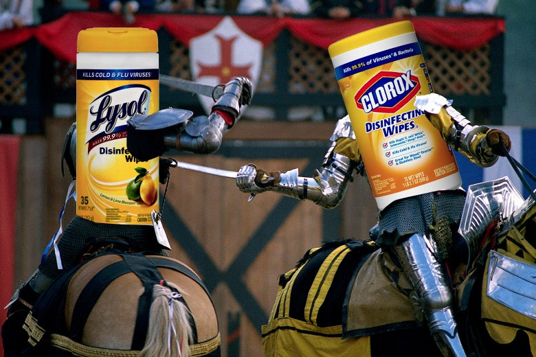 A Clorox canister and a Lysol canister on horses in a jousting match.