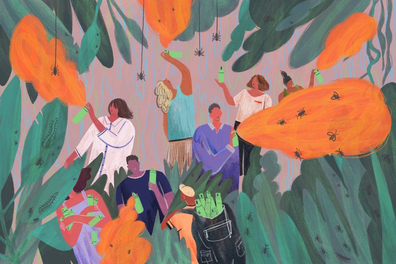 People creep through a lush, bug-infested growth, spraying bug repellent indiscriminately.