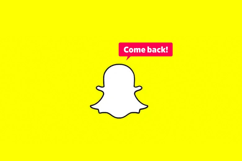 "The Snapchat ghost logo saying, ""Come back!"""