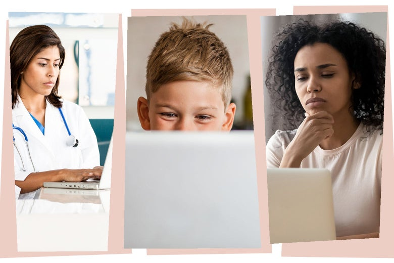 A female doctor on a laptop. A male child on a laptop. A businesswoman on a laptop.