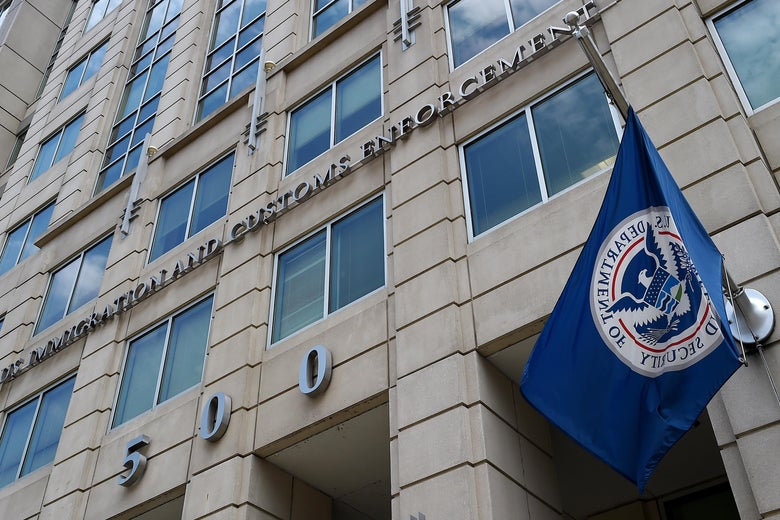 The Department of Homeland Security flag flies on the exterior of the Immigration and Customs Enforcement building