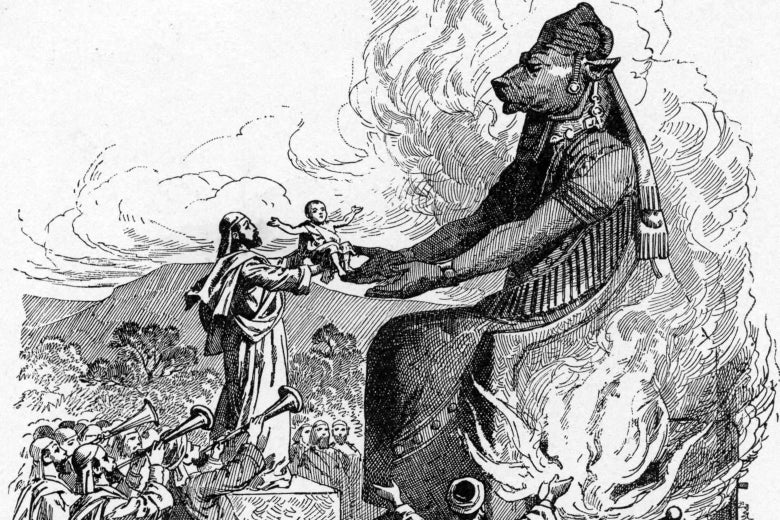 A child is sacrificed to Moloch in a 19th century biblical engraving.