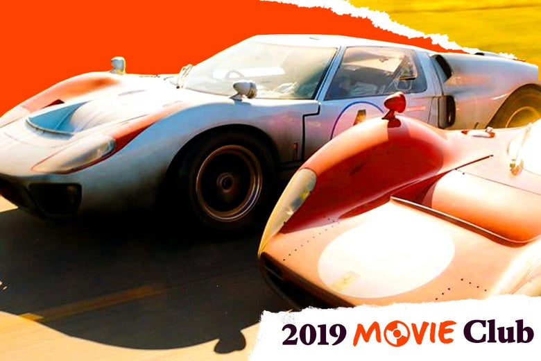 """Two cars racing in Ford v Ferrari. Text in the corner says, """"2019 Movie Club."""""""
