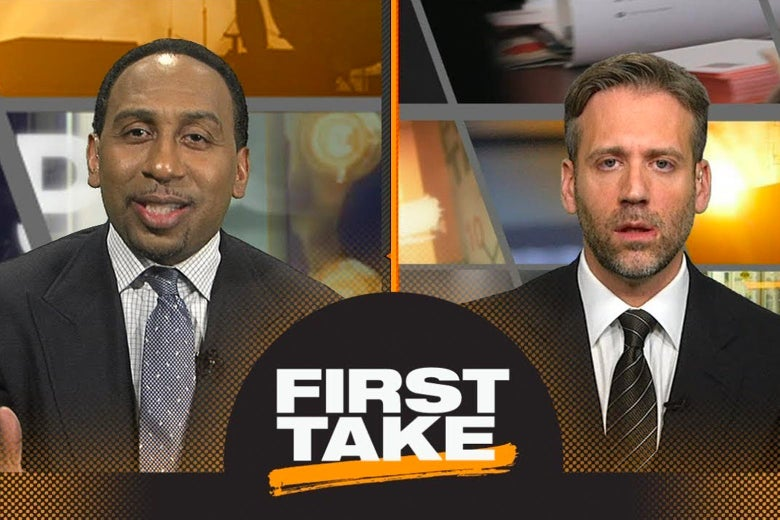 Stephen A. Smith and Max Kellerman on First Take, with the logo between them.