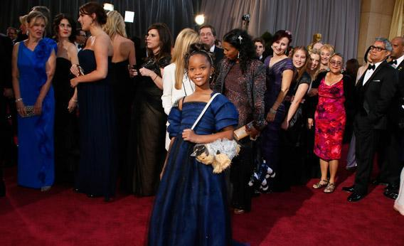 Quvenzhané Wallis, Best Actress nominee for her role in Beasts of the Southern Wild, arrives at the 85th Academy Awards in Hollywood, Calif., Feb. 24, 2013.