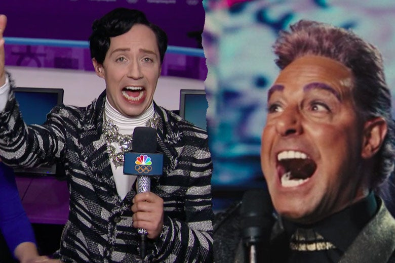 Left: Johnny Weir laughs, open-mouthed. Right: Stanley Tucci as Caesar Flickerman laughs, open-mouthed.