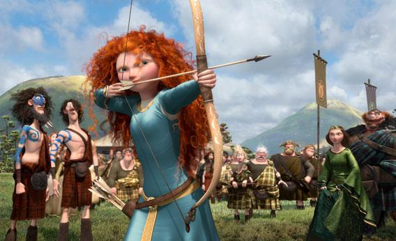 Merida shooting an arrow in Brave.