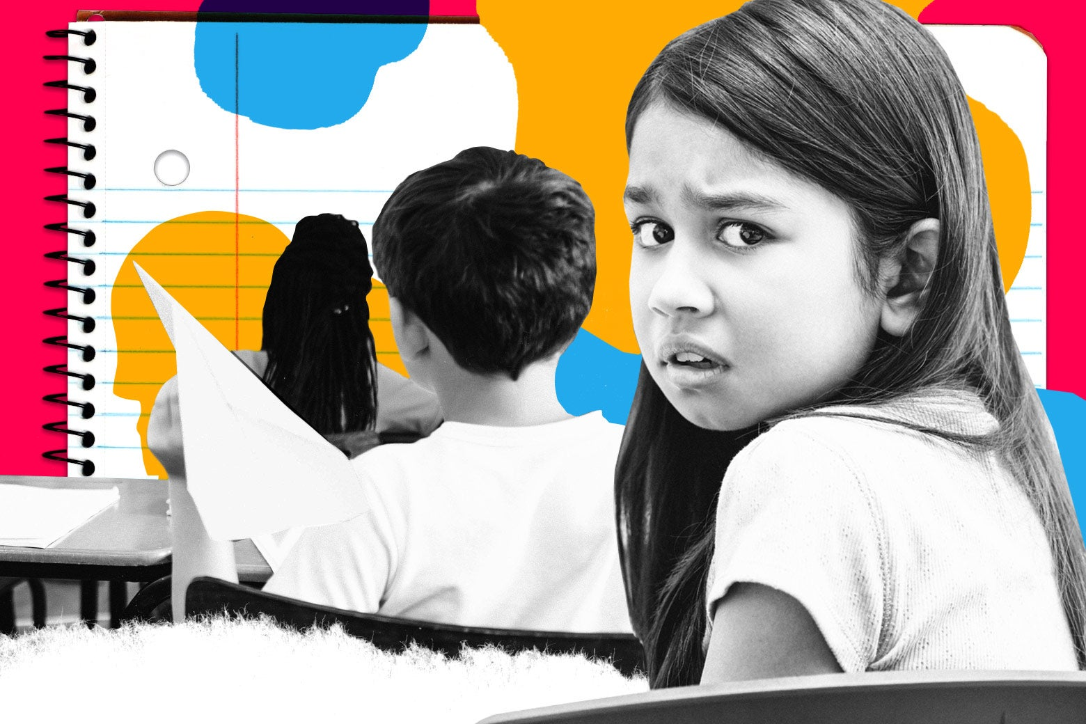 Photo collage of girl looking upset and a boy throwing an airplane in classroom.