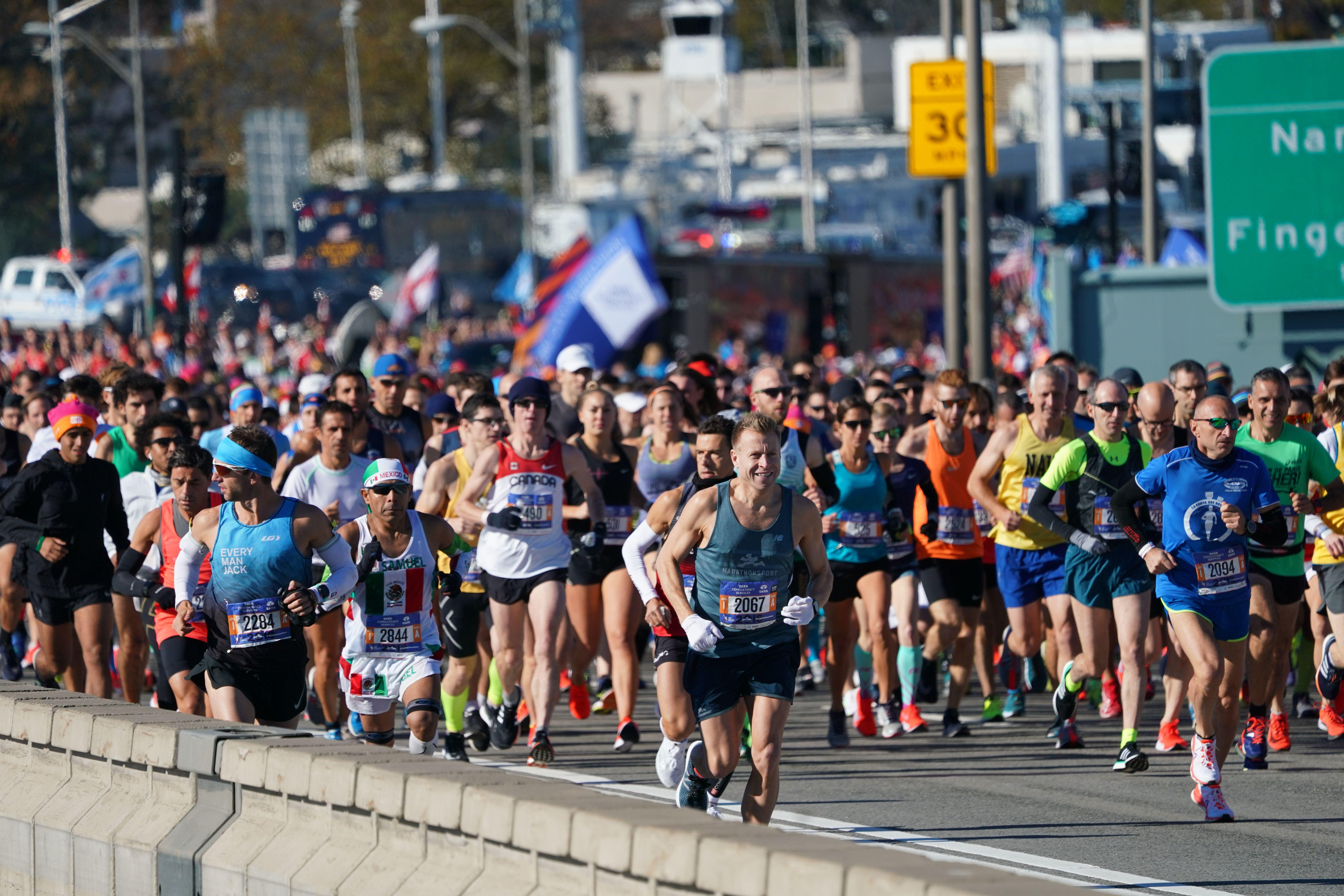 Runners take part in the New York City Marathon.