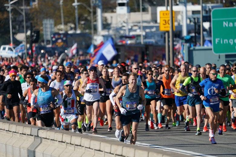 Runners take part in the New York City Marathon.