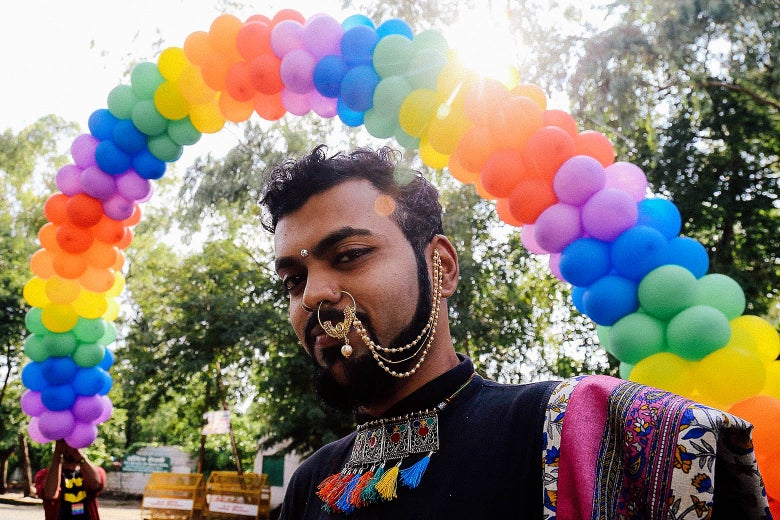 An Indian supporter of the LGBTQ community takes part in a pride parade in Bhopal on July 15.