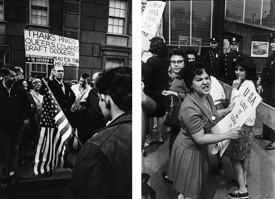 Left: Pro-Vietnam Warprotest, circa 1968. Right: Pro-Vietnam War protest.Union Square, New YorkCity, May 1964.