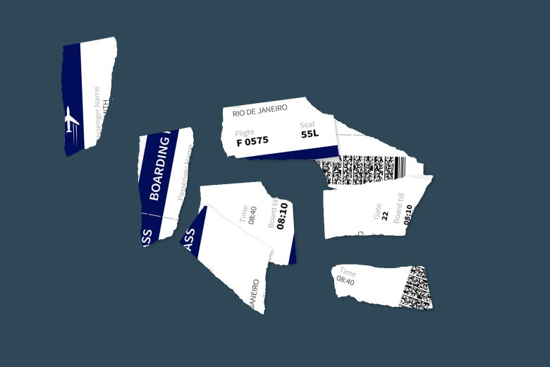 Ripped-up airline ticket.