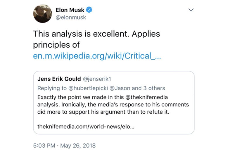 "A deleted tweet from Elon Musk linking to an article on The Knife, reading ""This analysis is excellent. Applies principles of https://en.wikipedia.org/wiki/Critical_thinking""."