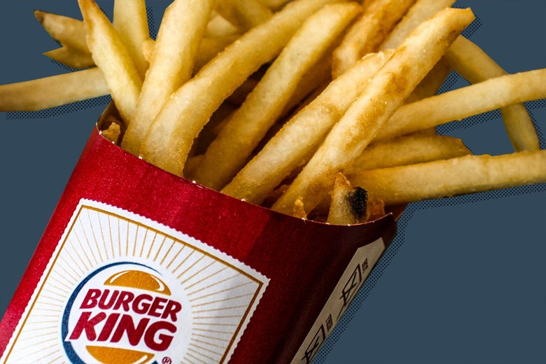 A close-up image of French fries in a red box that says Burger King.
