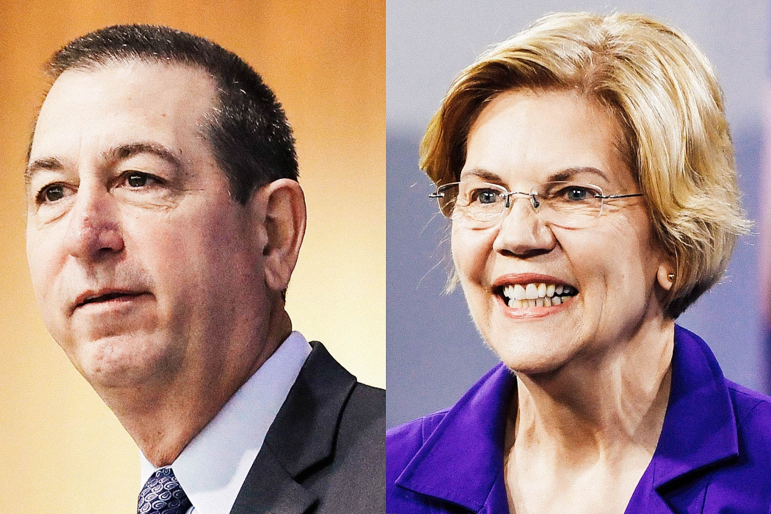 Diptych of Joseph Otting and Elizabeth Warren.