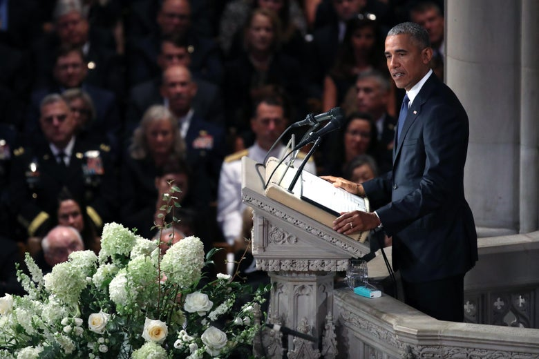 Former president Barack Obama speaks at the funeral service for Sen. John McCain at the National Cathedral on September 1, 2018 in Washington, D.C.