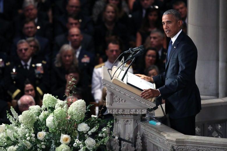 Former president Barack Obama speaks at the funeral service for Sen. John McCain at the National Cathedral on September 1, 2018 in Washington, D.C.