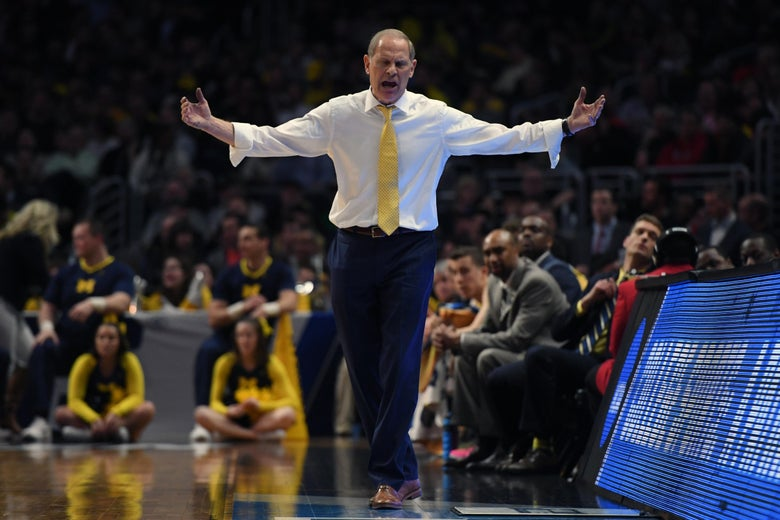 LOS ANGELES, CA - MARCH 22:  Head coach John Beilein of the Michigan Wolverines reacts against the Texas A&M Aggies during the second half in the 2018 NCAA Men's Basketball Tournament West Regional at Staples Center on March 22, 2018 in Los Angeles, California. The Michigan Wolverines defeated the Texas A&M Aggies 99-72.  (Photo by Harry How/Getty Images)