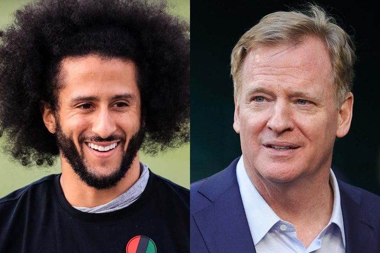 Left: Colin Kaepernick smiling. Right: Roger Goodell looking dumb.