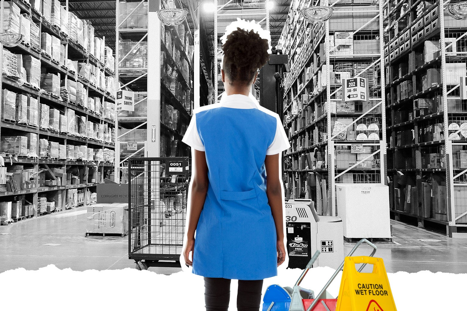 A black female janitor at an Amazon warehouse