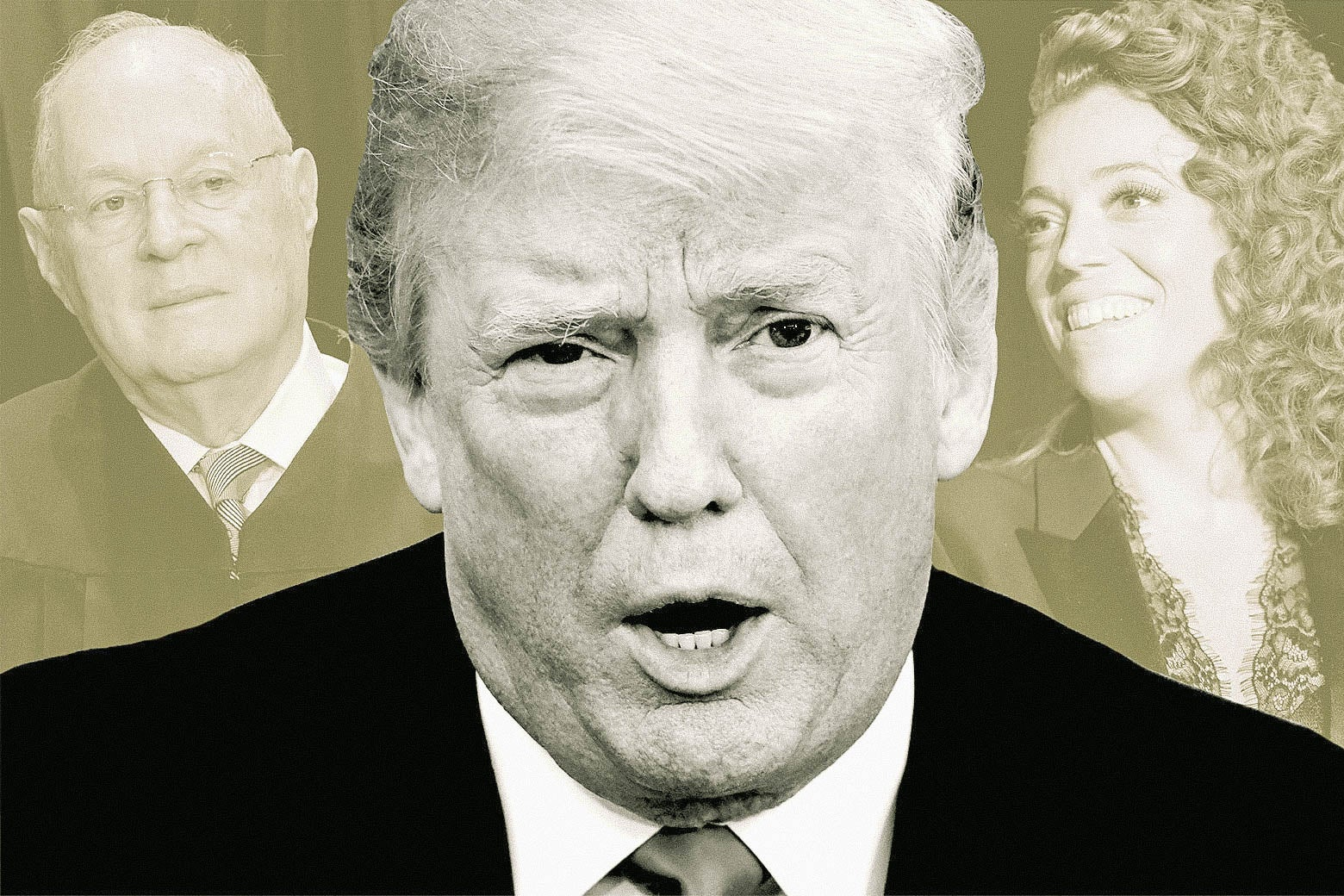 From left, Anthony Kennedy, Donald Trump, and Michelle Wolf