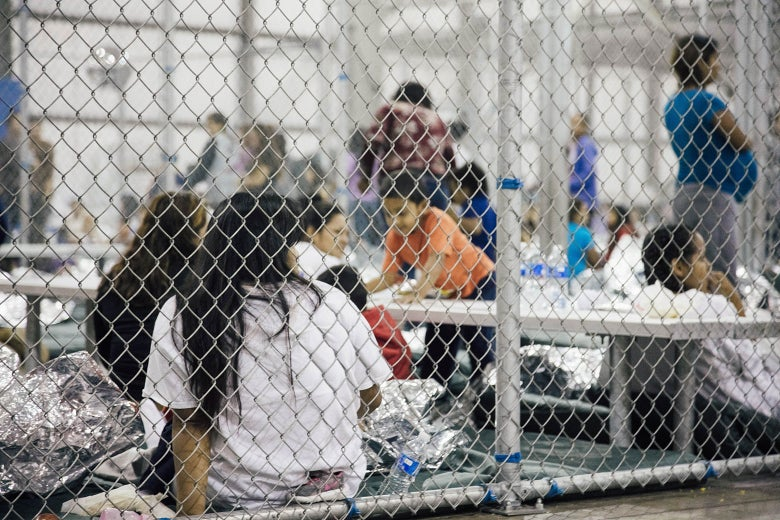 Border crossers in a jail at the Central Processing Center in Texas.