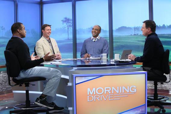 Hosts on the set of Morning Drive.