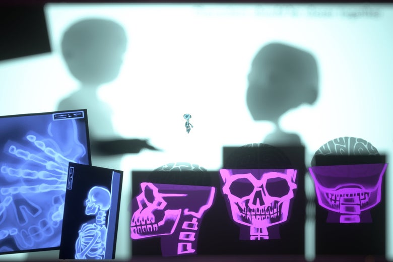 Bright purple and blue X-rays of a skull, neck, and hands. In the background, the silhouettes of two shadowy figures.