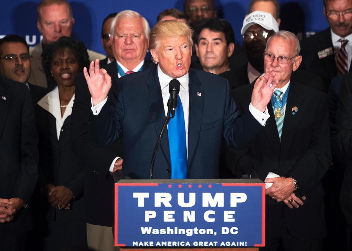 Republican presidential candidate Donald Trump states that he believes President Obama was born in the United States, during a campaign event with veterans at the Trump International Hotel on Pennsylvania Ave., NW, September 16, 2016.